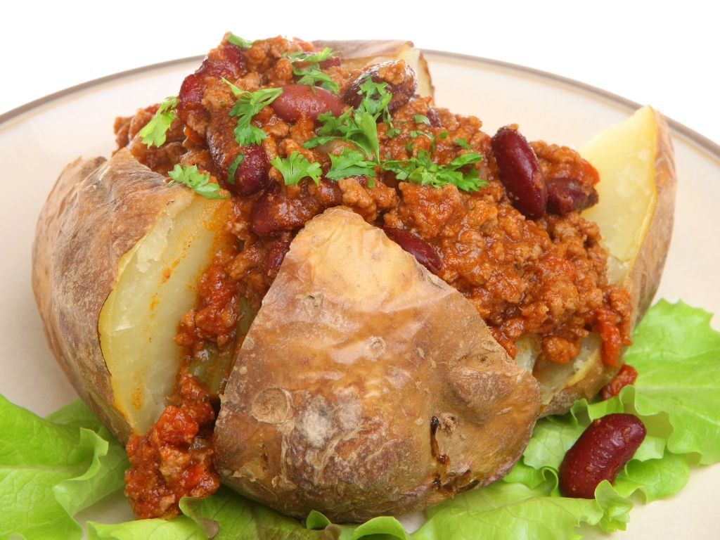 jacket potato with chilli con carne