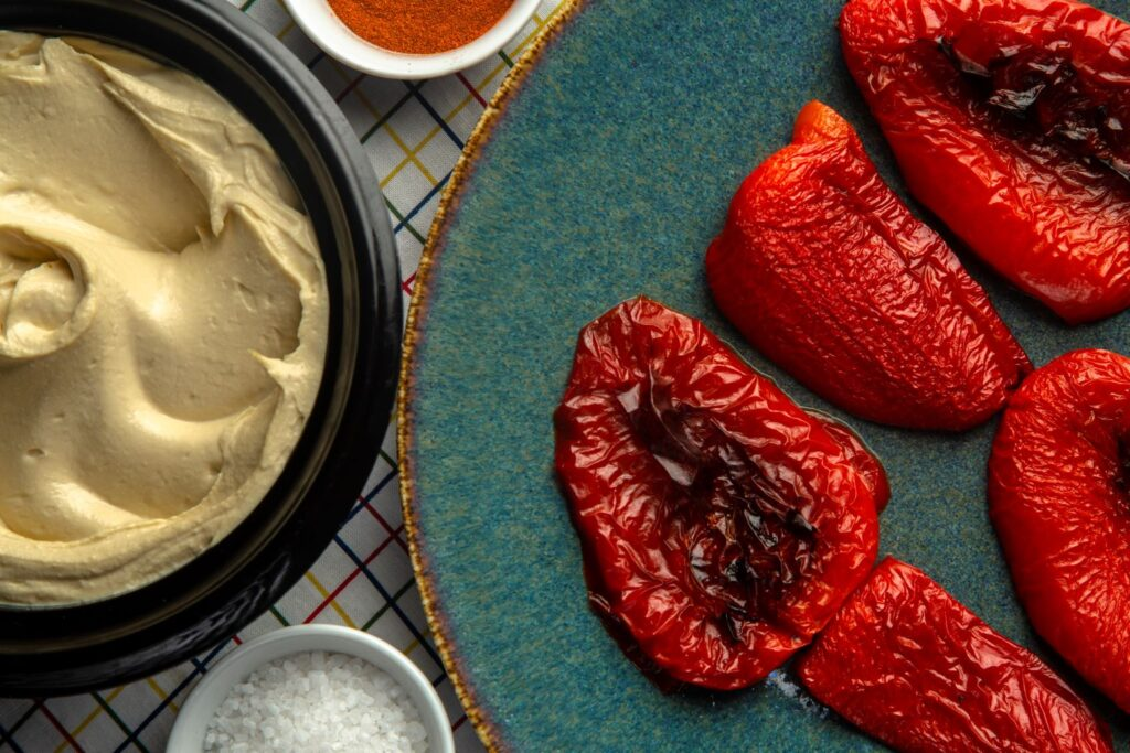 making roasted red pepper hummus from scratch