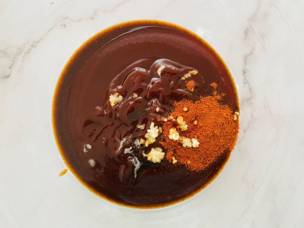 mixing ingredients for rib sauce