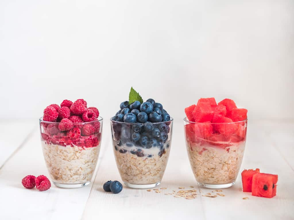 3 jars of overnight oats with fruit