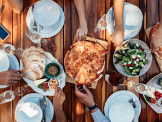 pizza and side dishes