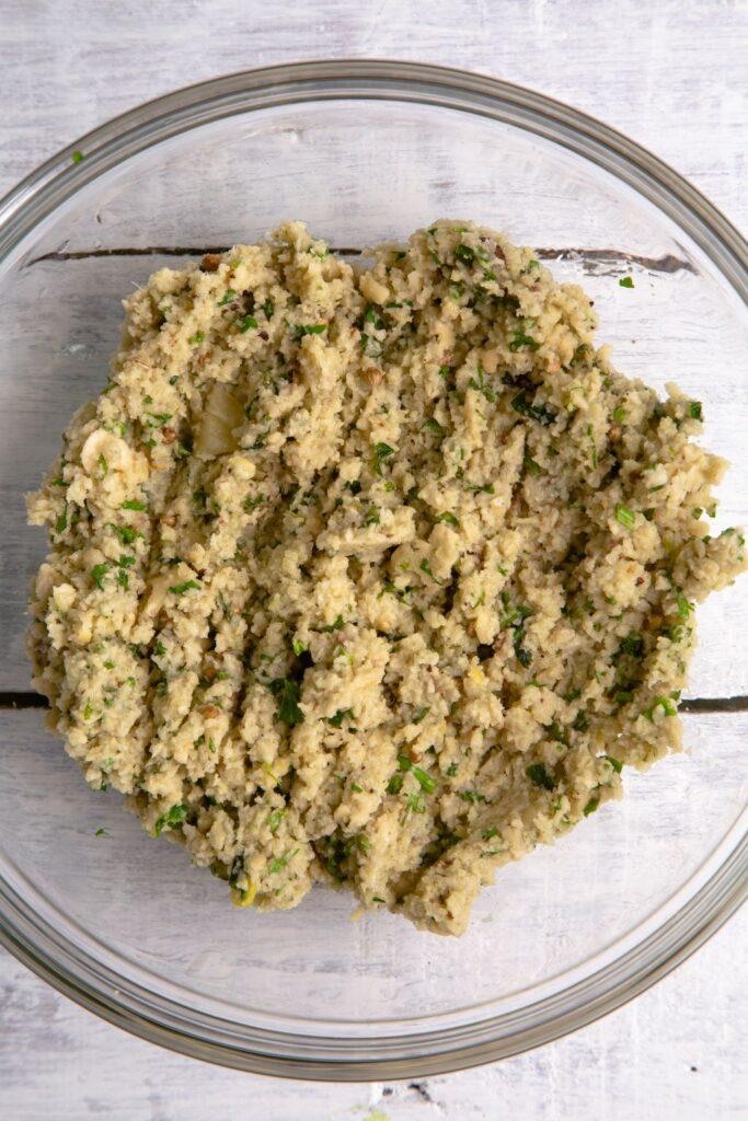 preparing falafel