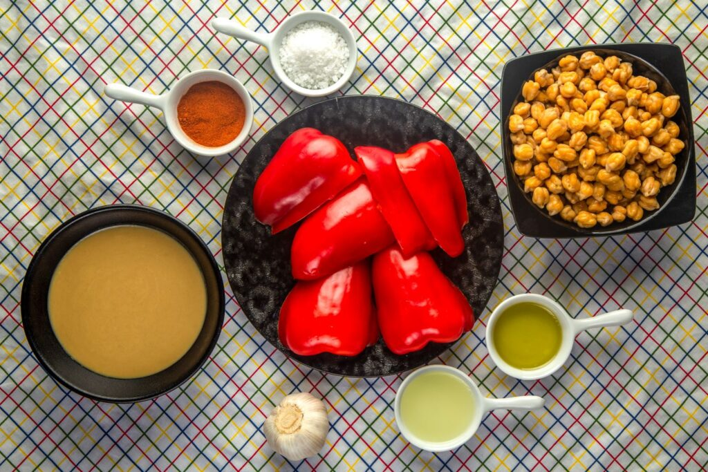 red pepper hummus ingredients laid out