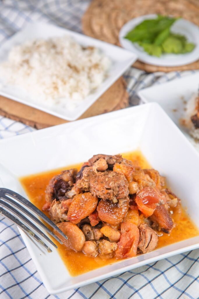 slow cooker lamb tagine on plate