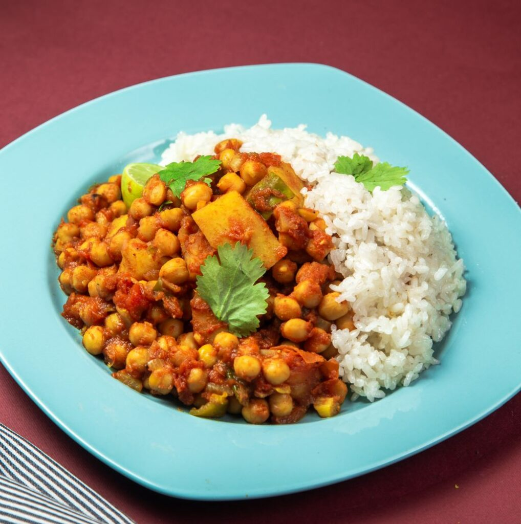 Slow Cooker Chickpea Curry with rice on a plate
