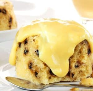 spotted dick with custard on top