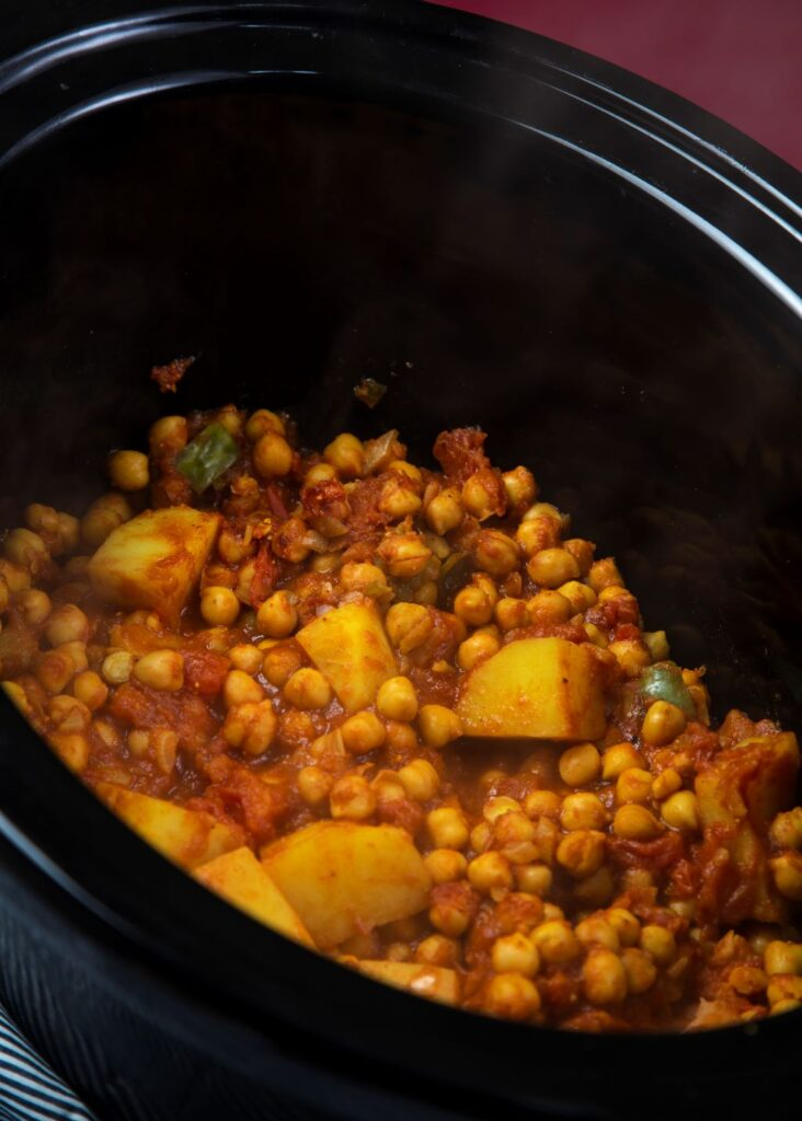 ingredients for slow cooker chickpea curry mixed together