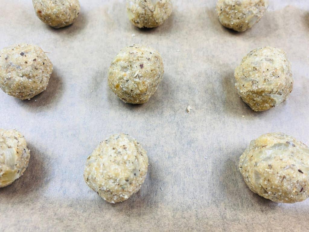 stuffing balls baking tray