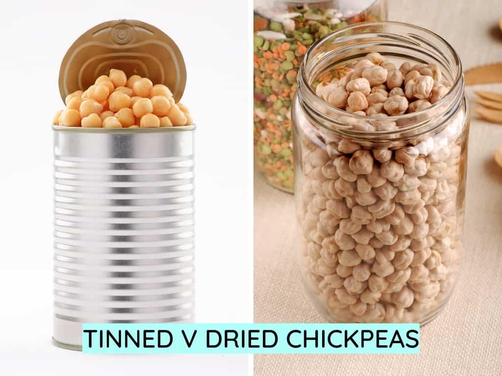 tinned chickpeas vs dried chickpeas