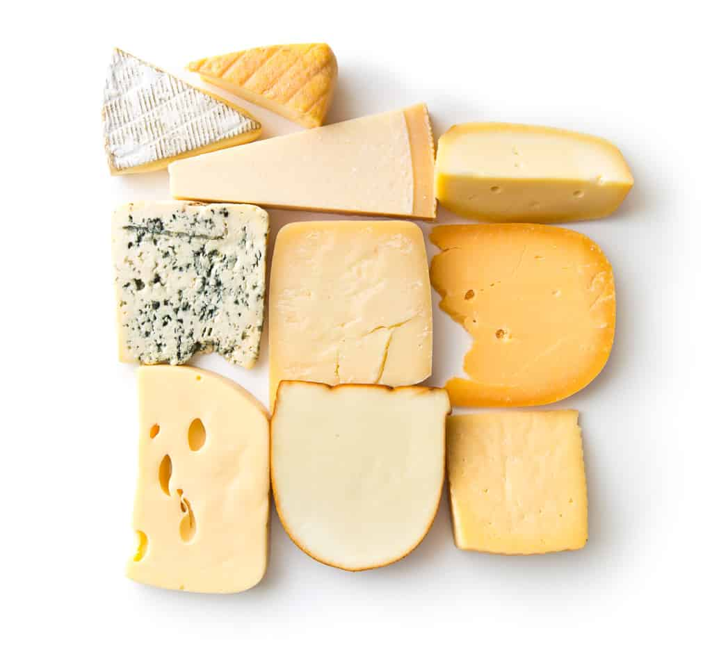 view from above of different types of cheese